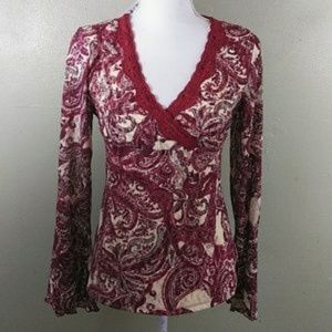 Paisley Lace Top with Trumpet Sleeves PM NWT